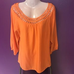 Women's Willi Smith Large Orange Blouse